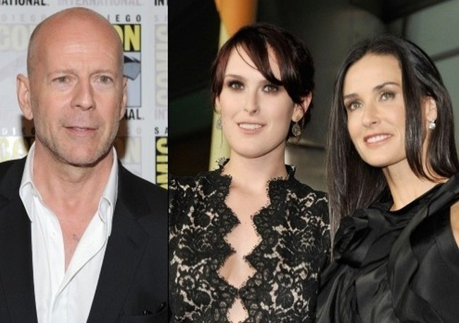 Rumer Willis with Demi Moore and Bruce Willis