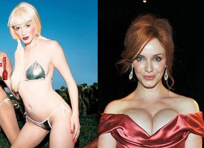 Christina Hendricks before and after breast implants plastic surgery