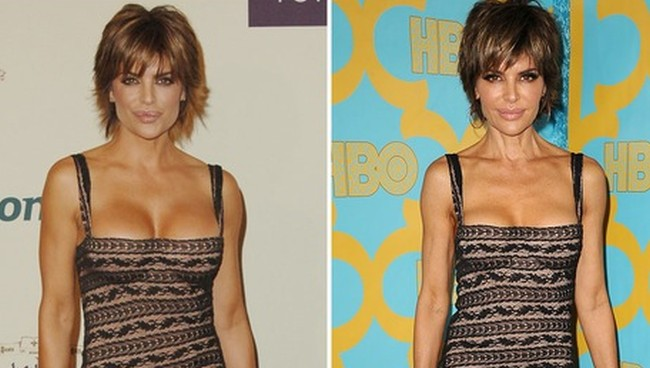 lisa rinna breast size in same dress