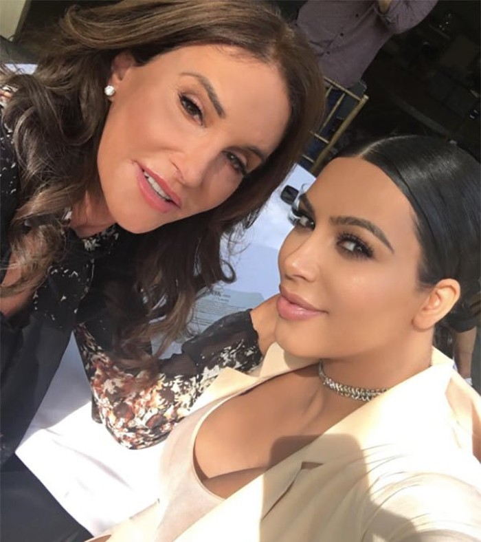 Caitlyn Jenner after plastic surgery with Kim Kardashian