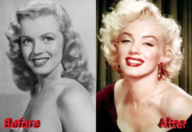 Marilyn Monroe Before and After Cosmetic Surgery 630x433